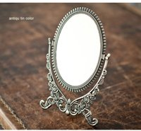 antique dresser mirrors - mirror embossed double face foldable alloy metal table makeup dresser espelho cosmetic mirror embossed antique tin frame B