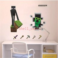 Wholesale Christmas D Walls Minecraft Wall Stickers Creeper Decorative Wall Decal Cartoon Wallpaper Kids Party Decoration Wall Art Exclusive Sale DHL