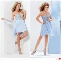 Wholesale Vestido De Festa Curto Sweetheart Beaded Bodice Layered Chiffon Skirt Short Cocktail Dress Light Blue Plus Size Party Dresses Prom Gown