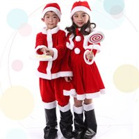 Wholesale Shengquan Christmas decoration Santa Claus costume dress clothes for children boys and girls velvet costumes