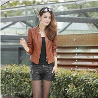 Wholesale Short Black Leather Coats Women - Wholesale-2015 Women Black Leather Jacket Fashion Short Womens leder jackets Motorcycle Coats Cheap Clothing