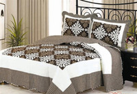 bedspreads and coverlets - Soft Microfiber Quilt Bedspread Coverlet coffee and White Patchwork Floral Design Queen Size