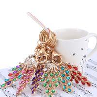 Wholesale Hot Sale Hollow Aureate Peafowl Pendant Keyring Charm Bag Car Key Ring Chain Fashional Jewelry Hollow Shinning Rhinestone J0493