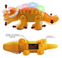 Wholesale Dragon Jurassic Park Electronic Dinosaur Pet Flashing Sound Walking Triceratops Dinosaur Toys CM Big Size Electronic Pet