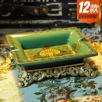 Wholesale European classical hand painted ceramic ashtray reflect Yingti green luxury home furnishings Decoration creative gifts