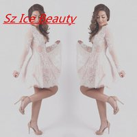 Wholesale Sexy Women Short Prom Dresses With Deep V Neck Long Sleeves Lace Appliques Vestidos De Fiesta New Designer Party Cocktail Dress Gown