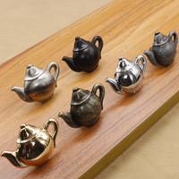 antique tea cabinet - Solid antique copper single door knob door handle for cabinet kitchen drawer tea pot shape furniture knob