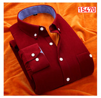 add corduroy - Winter new add wool shirt man with thick solid color corduroy thermal long sleeve shirt leisure men s clothing wash and wear