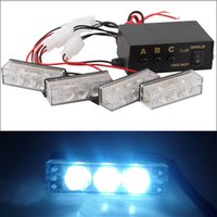 Wholesale New Portable Set Car x LED White Flashing Emergency Strobe Flash Light Mode