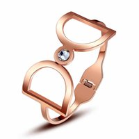 big d bracelet - Carlo US double D opening K rose gold plated titanium steel couple of big European and American fashion exaggerated female bracelet jewelr