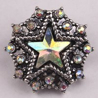 ab slide - 5pcs Price Metal Star Noosa Chunk With Clrystal AB Rhinestones Antique Silver Plated New Design