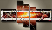 abstract mural paintings - Large Plum Abstract Canvas Oil Painting Split Wall Mural Patterns Decor Painting Panels Set