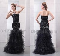 Strapless designer - Designers Mermaid Prom Dresses Black Strapless Beaded Organza Lace Evening Dresses Formal Pageant Dress Real Image Party Gown JOV172008