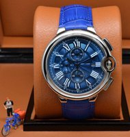big blue sapphire - Luxury Brand New Sports Quality caliber Rotonde Men s Quartz chronograph Watch Mens big Date ballon Sports Blue leather Strap WristWatches
