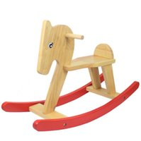 baby horse shipping - Wooden Rocking Horse ride on kids baby Children Baby Vintage Rocker Toy animal saddle birthday gift present fast shipping new arrival hot