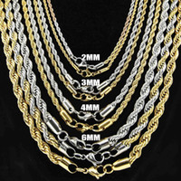 stainless steel rope - Europe and America Fashion Jewelry Sterling Silver Chains For Necklaces Top Quality Gold Rope Chains For Men Xmas Gift