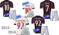 ac kids - Top quality AC Milan home Kids jersey soccer HONDA Milan youth away white jersey MENEZ EL SHAARAWY children s football shirt
