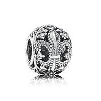 Wholesale Crystal Tibetan Silver Charms Loose Beads Fleur De Lis Openwork Charm Sterling Silver Beads Fit European Bracelets Cz Lw417