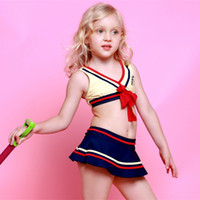 Wholesale 2016 New Baby Striped Bikinis Swimdress Sports Navy Style Little Childrens Girls Swimsuit Pink Blue Yellow Kids