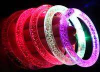 Wholesale Hot sale LED Colorful Flashing Bracelet Light Blinking Crystal Bracelets party and gifts EMS