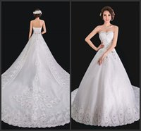 bridal dress china - Satin Cathedral Train Wedding Dresses Womens Bridal Gowns Strapless Lace Applique Spring Winter Vestido De Soiree Made In China