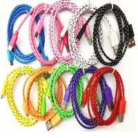 Wholesale USB Cable Cord Charger m Fabric Braided Nylon Data Sync Charging Coloful samsung s4 s5 blackberry HTC Nokia lumia other smartphone
