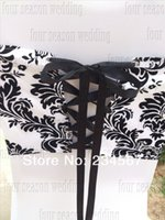Wholesale Russian White and Black flocking taffeta chair cover sash also call elegance damask corset chair sash