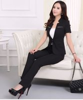 ladies skirt suits - 2015 Female Spring Summer Formal Interview Work Office Skirt Suits Ladies Solid V Neck One Button Short Sleeve Suit A360