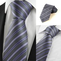 Wholesale High Quality Gentlemen Neckties Business Striped Neck Ties Lilac Black Stripe Formal Mens Tie Necktie Wedding Party Holiday Gift