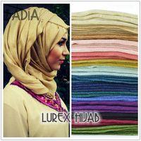 Wholesale One piece hijab solid plain glitter shimmer hijab scarf shinny maxi scarves tassel muslim viscose lurex shawl islamic women wrap