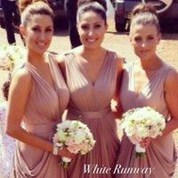 Wholesale Hot Sale Customized Romantic V neck Long Bridesmaid Dresses Ruffles Pleats Floor Length A line Charming Wedding Party Dresses