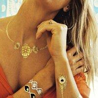 henna tattoo - 2015 golden tatto body art metallic temporary tattoo jewelry necklace flash tattoo gold tattoo henna tattoos Q00131 Q00161