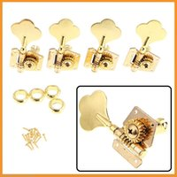 Wholesale 4 Gold Machine Heads R Electric Bass Guitar Tuners Tuning Pegs Keys Set Guitar Parts With Mounting Screws and Ferrules