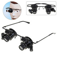 new design professional binocular glasses type 20x watch repair magnifier with led light metal abs frame clock tools 20pcs lot