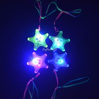 Wholesale LIGHT UP FLASHING STAR FISH JELLY LED NECKLACES CHILDREN GIRLS BOY LED TOY Children Day High Quality