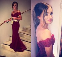 Wholesale 2016 Cap Sleeve Sweetheart Mermaid Evening Dresses Wine Red Floor length Chiffon Satin Elegant Bridesmaid Party Prom Dresses Gowns