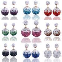 Cheap Free Shipping 9 Color Shamballa Brand Earrings Micro Disco Ball Shamballa Crystal Stud Earring For Women Fashion Jewelry