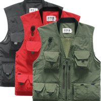 advertising photography - Photography Vest Spring And Summer Advertising Overalls Multi Pocket Vest Fishing Volunteer Collar Cardigan Vest Sell Like Hot Cakes