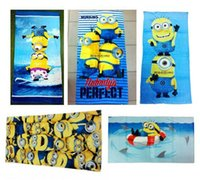 beach towels for kids - 24PCS HHA294 Despicable Me Minions Towel Bables Baths Children Beach Towel Kids Cotton Terry Towels For Bathing Swim Shower Towel