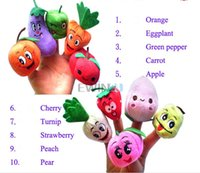 Wholesale Hot Selling set Funny Fruit Vegetable Finger Puppets Cloth Doll Baby Educational Hand Toy Story Kid Party Gift