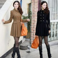 Wholesale 4021 New Women s Autumn Winter Collar England Badges Double breasted Skirt Style Jacket Slim Wool Coat