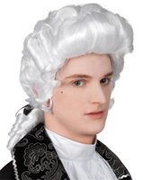 Wholesale Fancy White Long Curly Cosplay Wigs Baroque Man Wigs High Quality Synthetic Fiber Wigs Popular Products