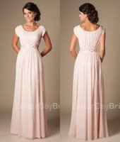 Wholesale Blushing Pink Long Formal Full Length Modest Chiffon Beach Evening Bridesmaid Dresses With Cap Sleeves Beaded Ruched Temple Bridesmaids Dres