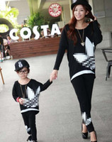 brand trousers - Family Clothing Fashion Mom Kids Girls Clothes Long Sleeve Tshirt Tops Trousers Sets Spring Brand Outfits Tracksuits Black J5028