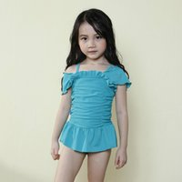 Wholesale Cute Kids Swimwear For New Arrival Girls Princess Swimming One piece Hat Suit Children Solid Beach Clothing Fit Age SS857