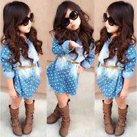 Wholesale 2015 summer fashion dot long shirt for girl girl collar Denim shirt with bel t