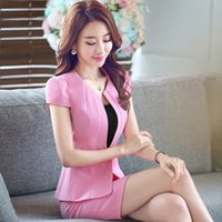 Wholesale Short Skirt Dress For Work - 2016 summer new women skirt sets formal fashion ol suits for ladies work wear set black apricot plus size DK802F free shipping