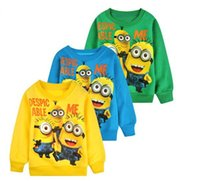 Wholesale Despicable Me Minions Long Sleeves T shirts Cartoon Anime Figure Clothes Long Sleeves T shirts Minion Costume Kids Clothes Girls Boys