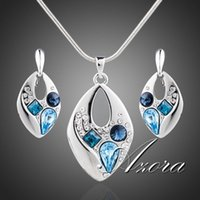 austrian crystal jewelry - AZORA Platinum Plated Blue Stellux Austrian Crystal Clip Earrings and Necklace Jewelry Sets TG0042