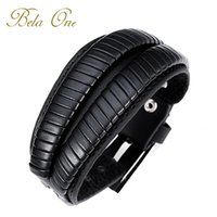 Wholesale Free Fast Shipping Genuine Leather Cuff Double Wide Bracelet and Rope Bangles Black for Men Fashion Man Braclets MS4016